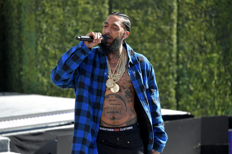 Nipsey Hussle performs onstage at Live! Red! Ready! Pre-Show, sponsored by Nissan, at the 2018 BET Awards at Microsoft Theater on June 24, 2018, in Los Angeles. Hussle was killed in a shooting outside a clothing store he owned on March 31, 2019.