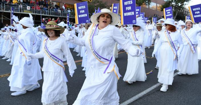"<span class=""caption"">Women portraying suffragettes walk with the Pasadena Celebrates 2020 float at the 131st Rose Parade in Pasadena, California, Wednesday, Jan. 1, 2020. </span> <span class=""attribution""><a class=""link rapid-noclick-resp"" href=""http://www.apimages.com/metadata/Index/Rose-Parade/9e774400ab8f45be85d0a17bb0df94c8/13/0"" rel=""nofollow noopener"" target=""_blank"" data-ylk=""slk:AP Photo/Michael Owen Baker"">AP Photo/Michael Owen Baker</a></span>"