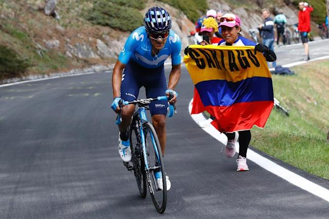 Team Movistar rider Richard Carapaz took the pink jersey with a solo win at the Giro on Saturday (AFP Photo/Luk BENIES)