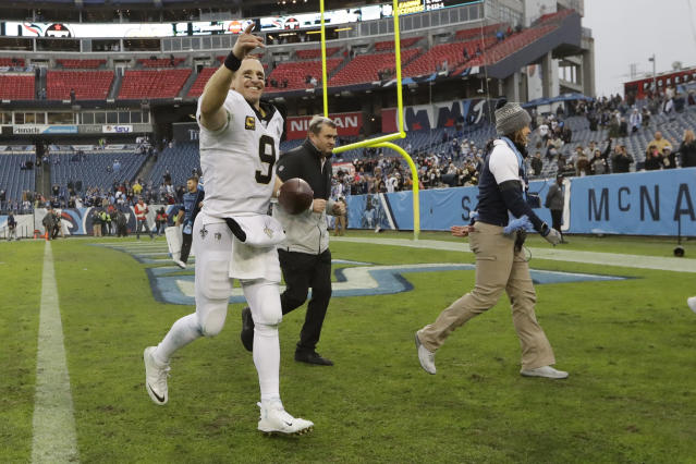 New Orleans Saints quarterback Drew Brees leaves the field after an NFL football game against the Tennessee Titans Sunday, Dec. 22, 2019, in Nashville, Tenn. The Saints won 38-28. (AP Photo/James Kenney)