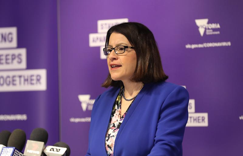 Victorian Health Minister Jenny Mikakos speaks to the media during a press conference in Melbourne, Friday, July 3, 2020. (AAP Image/David Crosling) NO ARCHIVING