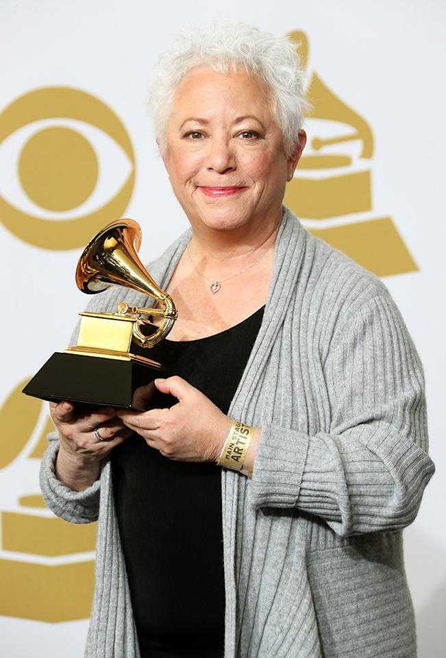 "Janis Ian, winner of Best Spoken Word Album award for ""Society's Child: My Autobiography,"" poses in the press room at the 55th Annual GRAMMY Awards at Staples Center on February 10, 2013 in Los Angeles, California.  (Photo by Frederick M. Brown/Getty Images)"