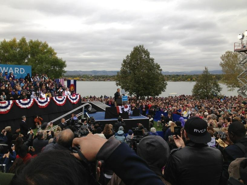 Obama at Denver rally. Crowd estimate 12,300.