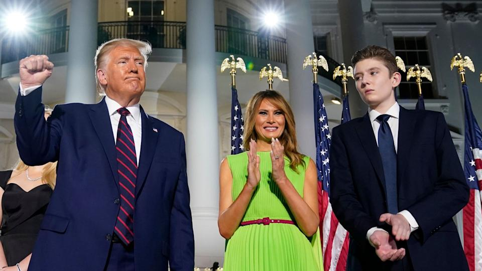 Mandatory Credit: Photo by Evan Vucci/AP/Shutterstock (10954820a)President Donald Trump, first lady Melania Trump and Barron Trump stand on the South Lawn of the White House on the fourth day of the Republican National Convention, in WashingtonElection 2020 RNC Trump, Washington, United States - 27 Aug 2020.