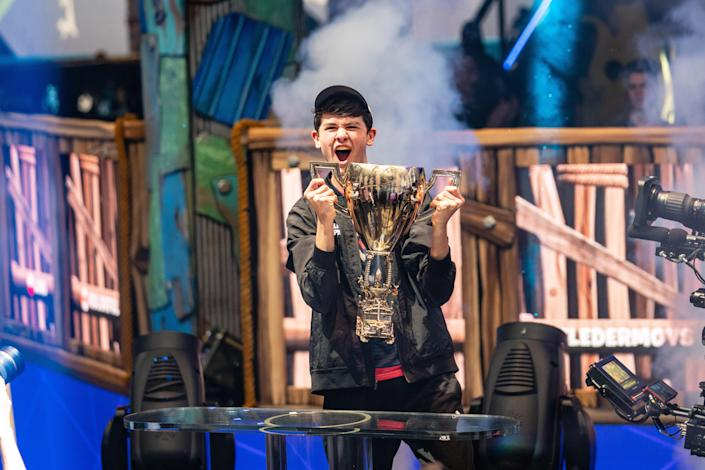 """16-year-old Kyle """"Bugha"""" Giersdorf won the Fortnite World Cup on Sunday afternoon in New York, taking home a $3 million prize. (Eric Ananmalay/Getty Images)"""