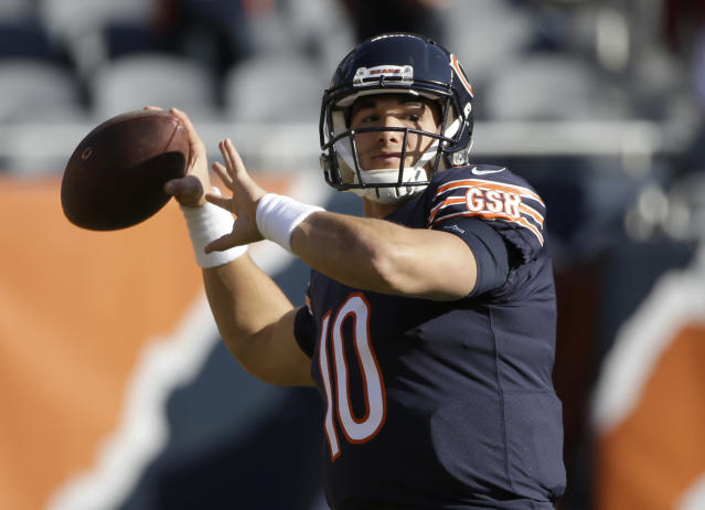 Chicago Bears quarterback Mitchell Trubisky had his ups and downs as a rookie. (AP)
