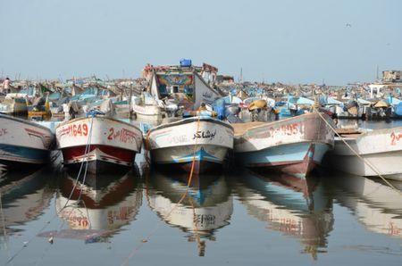 Boats are pictured at the Red Sea port of Hodeidah, Yemen