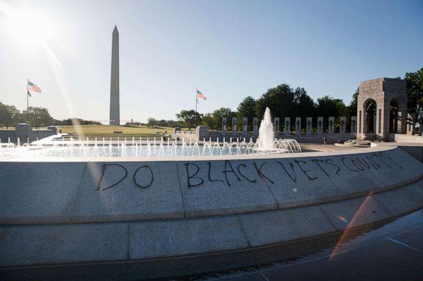 PHOTO: Spray paint that reads 'Do Black Vets Count?' is seen World War II Memorial on the National Mall in Washington, May 31, 2020, the morning after protests over the death of George Floyd. (Carolyn Kaster/AP)