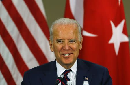 U.S. Vice President Biden speaks during a meeting at an Atlantic Council summit in Istanbul