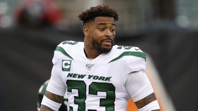 New York Jets strong safety Jamal Adams did not accept apologies from Drew Brees and Jake Fromm. (AP Photo/Gary Landers)