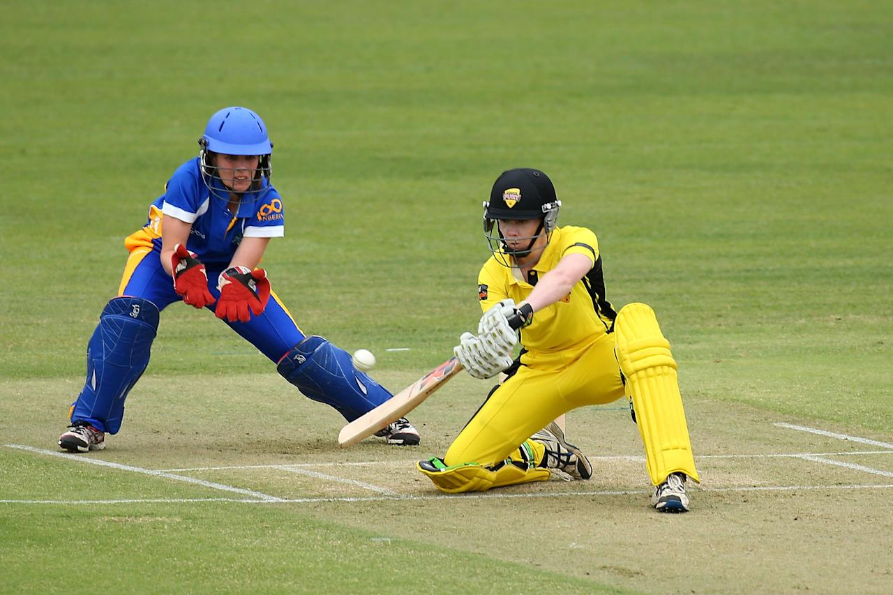PERTH, AUSTRALIA - OCTOBER 11:  Kate Blackwell of the Fury bats during the WT20 match between the Western Australia Fury and the ACT Meteors at the WACA on October 11, 2013 in Perth, Australia.  (Photo by Paul Kane/Getty Images)