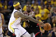 DeMarcus Cousins #0 of the Golden State Warriors is defended by Serge Ibaka #9 of the Toronto Raptors in the second half during Game Three of the 2019 NBA Finals at ORACLE Arena on June 05, 2019 in Oakland, California. (Photo by Ezra Shaw/Getty Images)