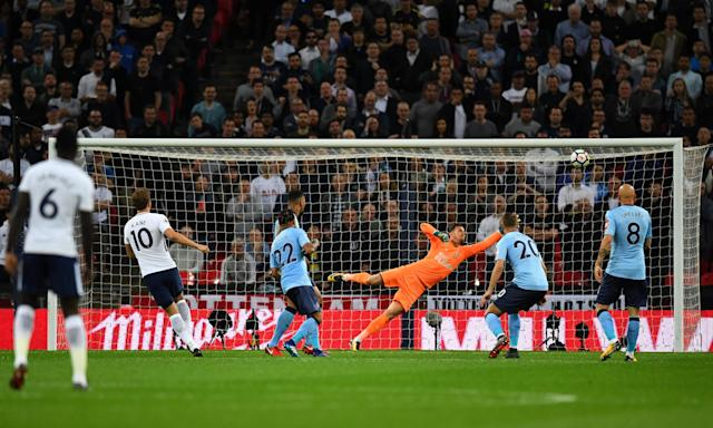 Harry Kane (second left) opens the scoring for Tottenham against Newcastle