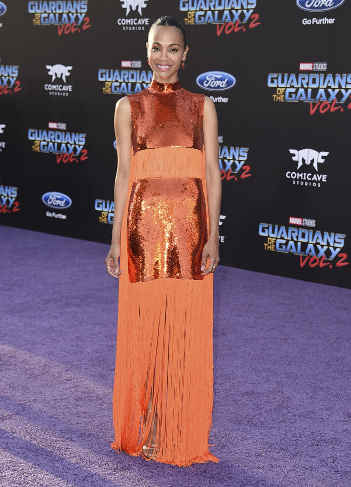<p>Gamora actress at the world premiere of 'Guardians of the Galaxy Vol. 2' at the Dolby Theatre in Hollywood on April 19, 2017. (Photo: Jordan Strauss/Invision/AP) </p>