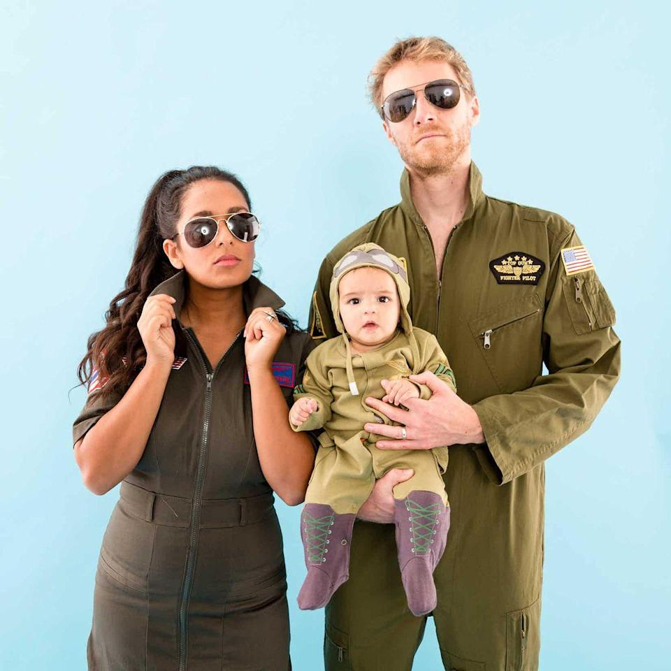"""<p>Believe it or not, a <em>Top Gun</em> costume is actually one of the easiest to DIY—that's why it's such a popular choice year after year! Don a pair of aviator sunglasses, and you're halfway there.</p><p><strong>Get the tutorial at <a href=""""https://www.brit.co/top-gun-family-halloween-costume/"""" rel=""""nofollow noopener"""" target=""""_blank"""" data-ylk=""""slk:Brit + Co"""" class=""""link rapid-noclick-resp"""">Brit + Co</a>.</strong></p><p><a class=""""link rapid-noclick-resp"""" href=""""https://www.amazon.com/Aviator-Silver-Mirror-Metal-Sunglasses/dp/B0104OHETQ?tag=syn-yahoo-20&ascsubtag=%5Bartid%7C10050.g.29074815%5Bsrc%7Cyahoo-us"""" rel=""""nofollow noopener"""" target=""""_blank"""" data-ylk=""""slk:SHOP AVIATOR SUNGLASSES"""">SHOP AVIATOR SUNGLASSES</a></p>"""