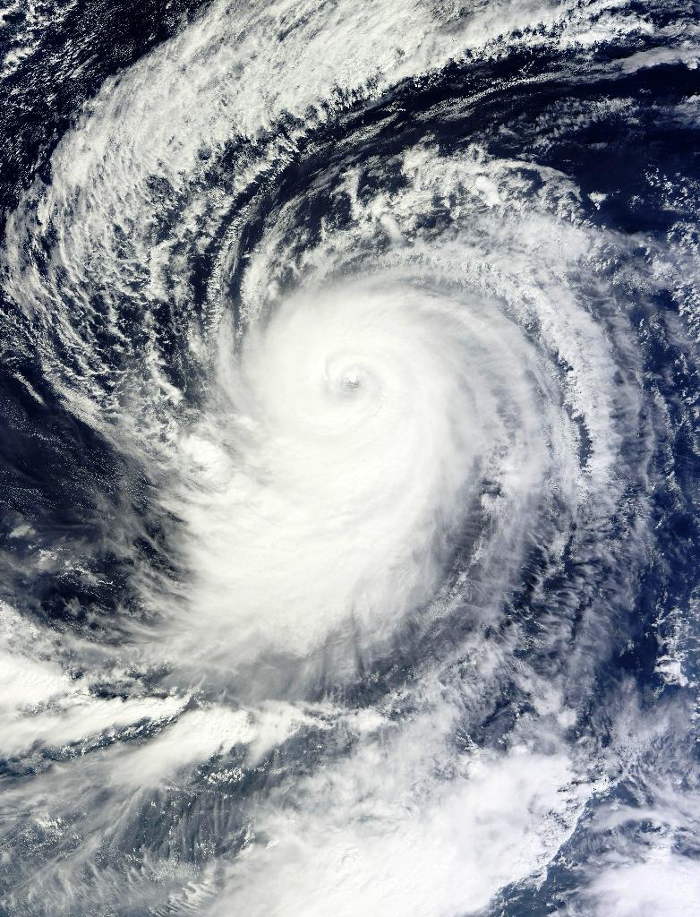 This October 19, 2015 NASA satellite image shows Hurricane Olaf in the central Pacific Ocean