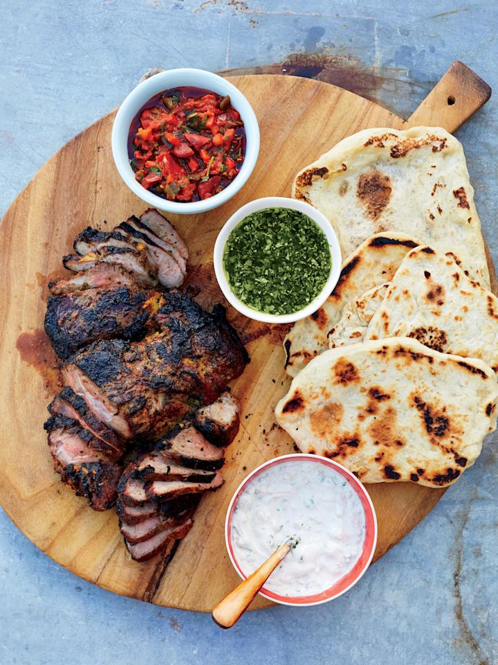 "<p>Flatbreads quickly cook on a griddle set over hot coals. Prep and portion the dough ahead to keep time at the grill to a minimum. Serve these homemade flatbreads with juicy grilled lamb and a trio of savory sauces. </p> <p><a href=""https://www.myrecipes.com/recipe/homemade-flatbreads"">Homemade Flatbreads Recipe</a></p>"