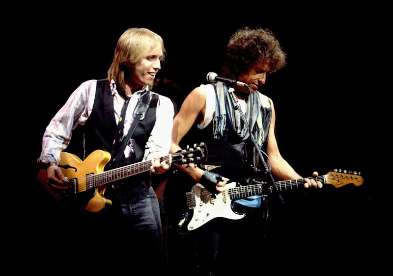 Bob Dylan and Tom Petty in concert on July 22, 1986 in Chicago, IL.