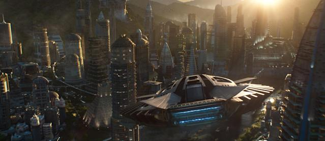 A Talon fighter soars over Wakanda in Marvel's <i>Black Panther.</i> (Photo: Marvel Studios)