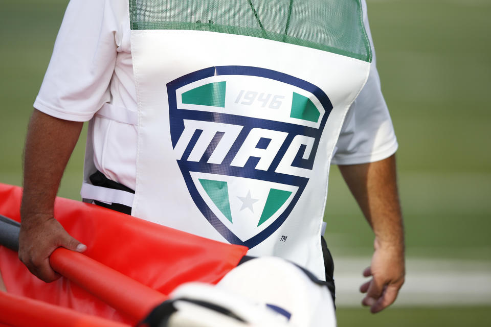 Detailed view of the Mid-American Conference logo on a sideline crew member vest during the game between Western Michigan and Michigan State in 2015. (Joe Robbins/Getty Images)
