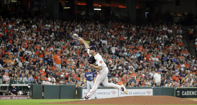 Houston Astros starting pitcher Justin Verlander throws against the Seattle Mariners during the second inning of a baseball game Saturday, Sept. 7, 2019, in Houston. (AP Photo/David J. Phillip)
