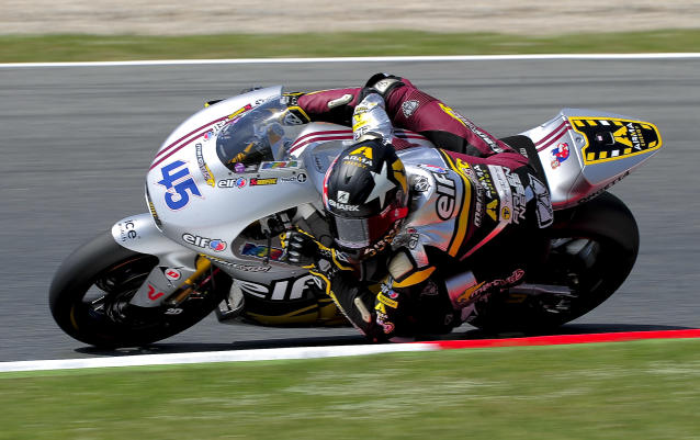 Marc VDS Racing Team's British Scott Redding rides during the Catalunya racetrack in Montmelo, near Barcelona, on June 1, 2012, during the Moto2 second training session of the Catalunya Moto GP Grand Prix. AFP PHOTO / JOSEP LAGOJOSEP LAGO/AFP/GettyImages