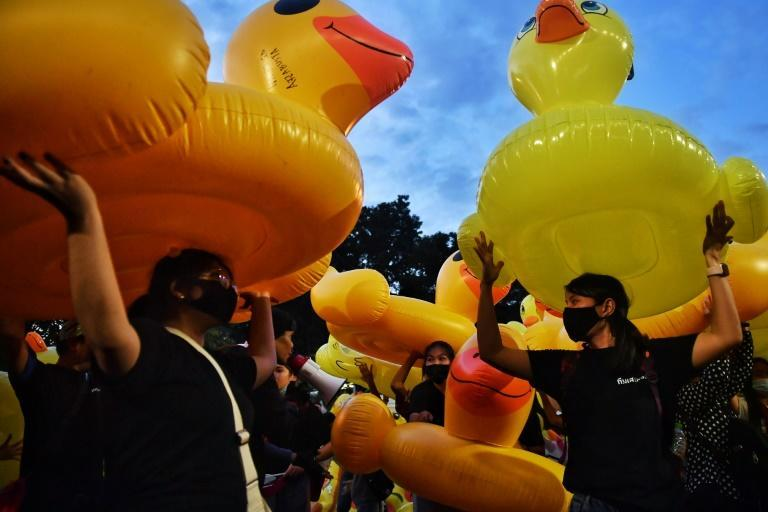 Bright yellow rubber ducks have become a symbol of the movement