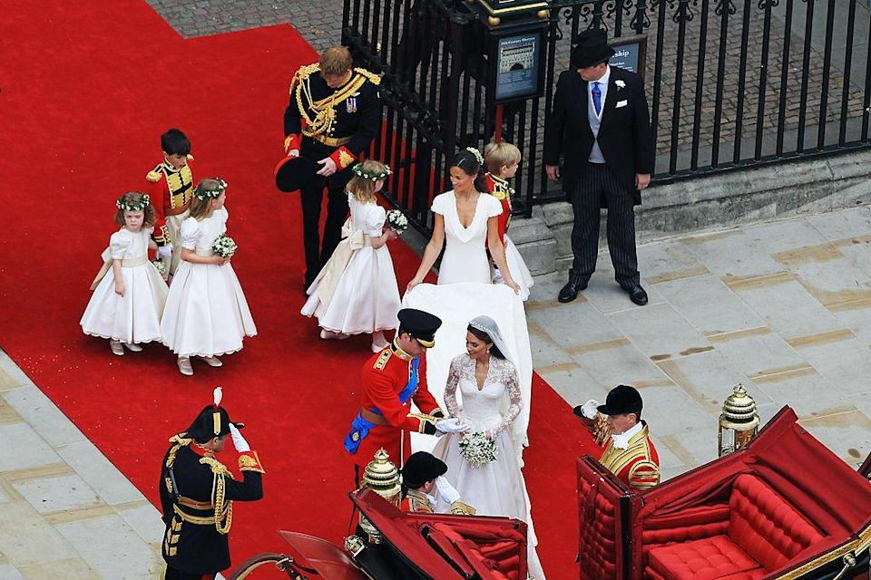 "<p>Pippa Middleton, sister of the Duchess of Cambridge, served as maid of honour to the bride on her big day. The bride also chose four of her friends' children to serve as bridesmaids: Lady Louise Windsor (daughter of Prince Edward and the Countess of Wessex) Margarita Armstrong-Jones (granddaughter of Princess Margaret and Anthony Armstrong-Jones), Grace van Cutsem (daughter of William's friends, Mr. and Mrs. Hugh van Cutsem) and Eliza Lopes (granddaughter of Camilla, Duchess of Cornwall).</p><p>The bridesmaids' dresses were made by childrenswear designer Nicki Macfarlane using the same fabric as Middleton's Alexander McQueen wedding dress, but featured a secret detail which you no doubt missed.</p><p>Hand-embroidered into the lining of each dress was the bridesmaid's name and the date, as a 'special momento', the <a href=""https://www.royal.uk/wedding-dress-bridesmaids-dresses-and-pages-uniforms"" rel=""nofollow noopener"" target=""_blank"" data-ylk=""slk:royal family confirmed."" class=""link rapid-noclick-resp"">royal family confirmed.</a></p><p>The Page Boys (William (Billy) Lowther-Pinkerton (Aged 10 – son of Mr. and Mrs. Jamie Lowther-Pinkerton - Prince William's former private secretary) and Tom Pettifer (Aged 8 – son of Tiggy Pettifer, Harry and Charles' former Nanny) were effectively 'mini Prince Williams', wearing a uniform in style of the Foot Guards which draws its badge from the Irish Guards, which the Duke of Cambridge was made Colonel of in the months before the wedding, hence his outfit too. </p>"
