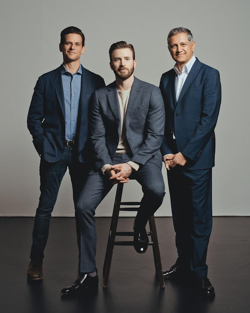 Mark Kassen, Chris Evans and Joe Kiani photographed in Los Angeles, CA on March 11, 2020.   Ryan Pfluger for TIME