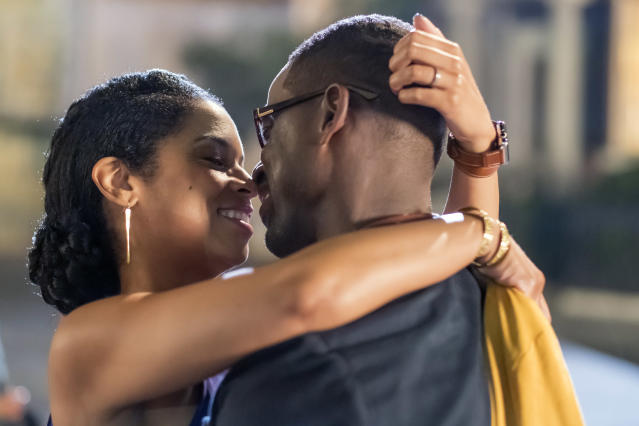 <p>Susan Kelechi Watson as Beth and Sterling K. Brown as Randall in NBC's <i>This Is Us</i>. <br><br>(Photo: Ron Batzdorff/NBC) </p>