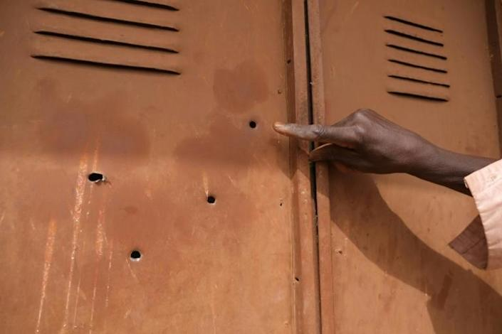 Bullet holes in a locker at the at the secondary school in Kankara from where hundreds of schoolboys were seized