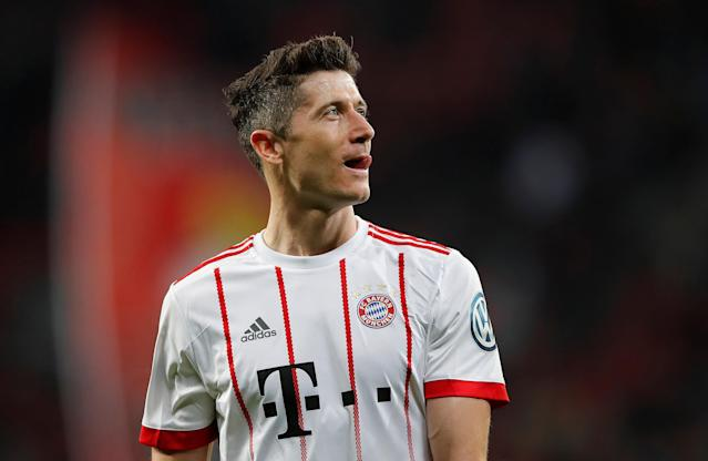 Soccer Football - DFB Cup - Bayer Leverkusen vs Bayern Munich - BayArena, Leverkusen, Germany - April 17, 2018 Bayern Munich's Robert Lewandowski after the match REUTERS/Wolfgang Rattay DFB RULES PROHIBIT USE IN MMS SERVICES VIA HANDHELD DEVICES UNTIL TWO HOURS AFTER A MATCH AND ANY USAGE ON INTERNET OR ONLINE MEDIA SIMULATING VIDEO FOOTAGE DURING THE MATCH.
