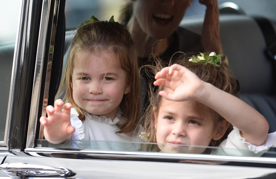 WINDSOR, ENGLAND - OCTOBER 12:  Princess Charlotte of Cambridge and Theodora Williams attend the wedding of Princess Eugenie of York and Jack Brooksbank at St George's Chapel in Windsor Castle on October 12, 2018 in Windsor, England.  (Photo by Pool/Samir Hussein/WireImage)