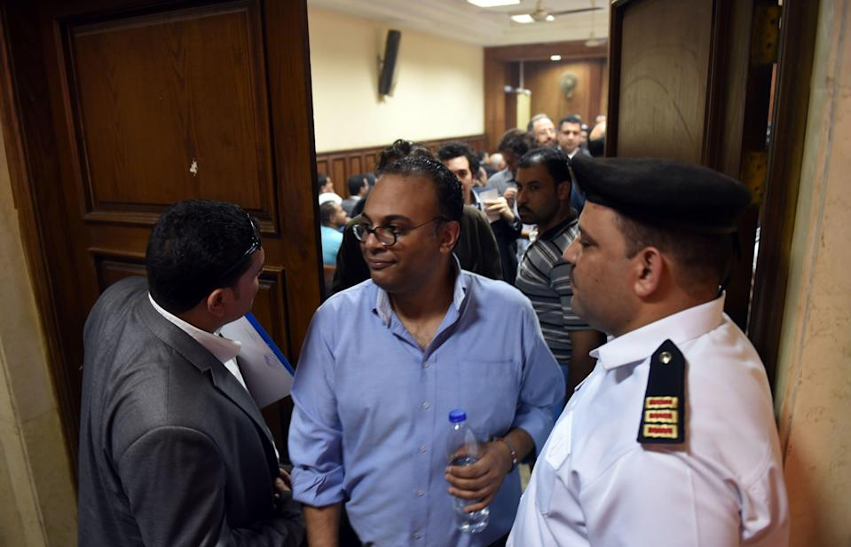 Bahgat at a court hearing deciding a travel ban and asset freeze in 2016MOHAMED EL-SHAHED/AFP via Getty Images