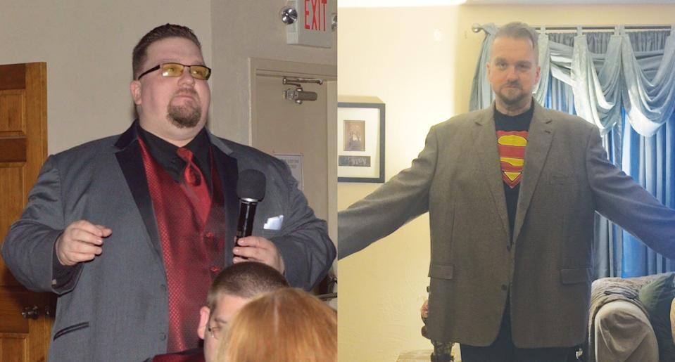 Mayer before and after his weight-loss journey. (Photo: Mark Mayer)