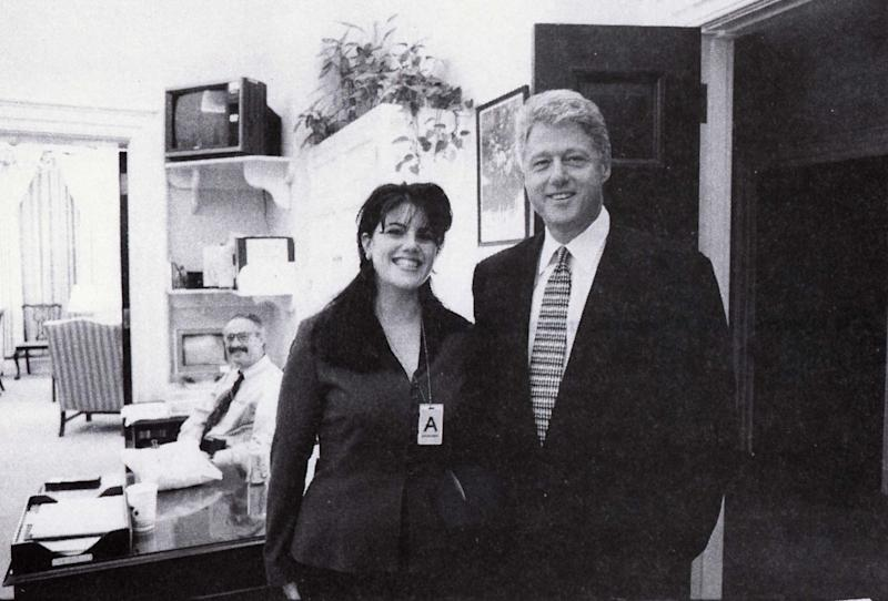 President Clinton poses with Monica Lewinsky in a Nov. 17, 1995 photo, that was released Sept. 21 by Independent Counsel Kenneth Starr as part of more than 3,000 pages of documents pertaining to the scandal. According to Lewinsky's deposition, she and Clinton had a sexual encounter in the White House that day.