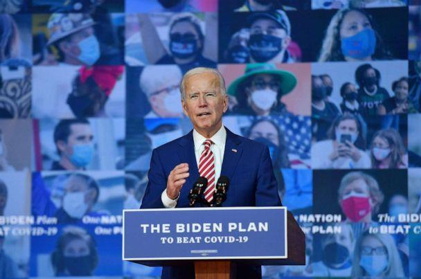PHOTO: Democratic presidential nominee and former Vice President Joe Biden delivers remarks on COVID-19 at The Queen theater on Oct. 23, 2020, in Wilmington, Del. (Angela Weiss/AFP via Getty Images)
