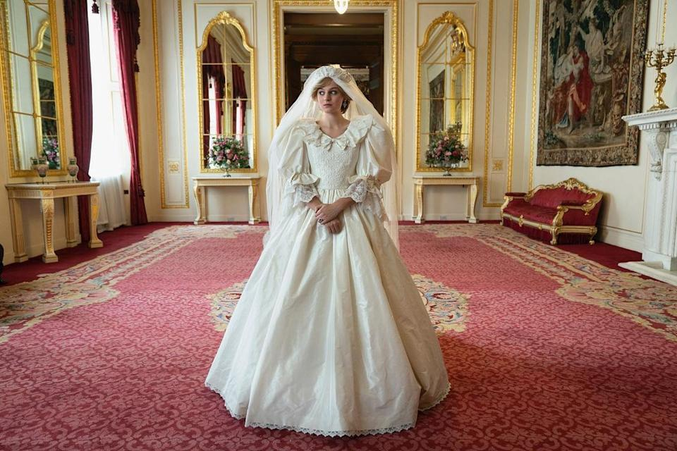 Princess Diana in her wedding dress in The Crown