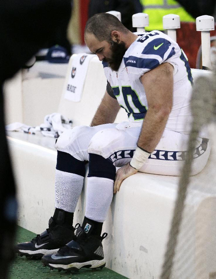 Seattle Seahawks center Max Unger sits on the bench late in the second half of an NFL football game against the San Francisco 49ers, Sunday, Dec. 8, 2013, in San Francisco. The 49ers defeated the Seahawks 19-17. (AP Photo/Ben Margot)