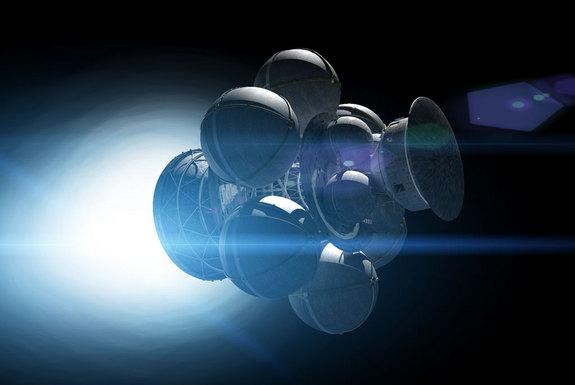 The Daedalus spacecraft's spherical tanks contain the fuel pellets for the nuclear fusion engine.