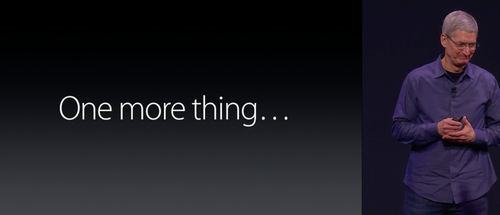 Tim Cook next to the words 'One More Thing'