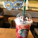 """<p>Starbucks' holiday-themed Frappuccinos are where the brand really shines, and this new <a href=""""https://www.instagram.com/p/B3qhvAwh__P/"""" rel=""""nofollow noopener"""" target=""""_blank"""" data-ylk=""""slk:Halloween Dark Night Frappuccino"""" class=""""link rapid-noclick-resp"""">Halloween Dark Night Frappuccino</a> is no different. </p><p>Available in Japan, this beverage is a mix of dark cocoa, brownies, and white chocolate chip flavors that's topped with whipped cream, red berry sauce (made of raspberry, cranberry, and strawberry), and cocoa. The masquerade-themed drink comes with a mask on the straw, so it has its own Halloween costume!</p>"""