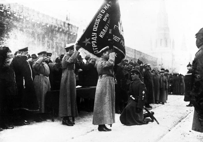 Members of a unit of Russia's state security, the Cheka, also called the Secret Police, in Moscow Feb. 2, 1921. (Photo: AP)