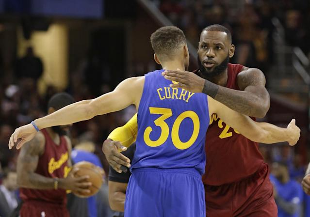 """<a class=""""link rapid-noclick-resp"""" href=""""/nba/players/4612/"""" data-ylk=""""slk:Stephen Curry"""">Stephen Curry</a>'s Warriors and LeBron James' Cavaliers will face off in the NBA Finals for the third straight year. (AP)"""