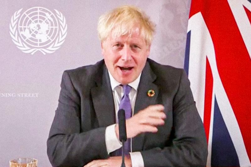 Prime minister Boris Johnson addresses the United Nations by video link (AP)