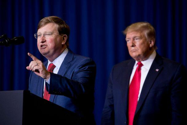 PHOTO: Mississippi Lt. Gov. Tate Reeves, left, accompanied by President Donald Trump speaks at a rally at BancorpSouth Arena in Tupelo, Miss., Nov. 1, 2019. (Andrew Harnik/AP)