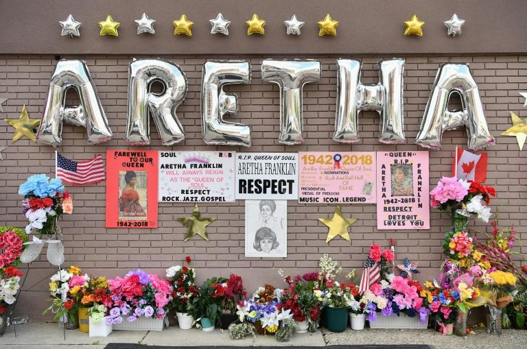 An Aretha Franklin memorial, outside New Bethel Baptist Church on August 30, 2018 in Detroit, Michigan