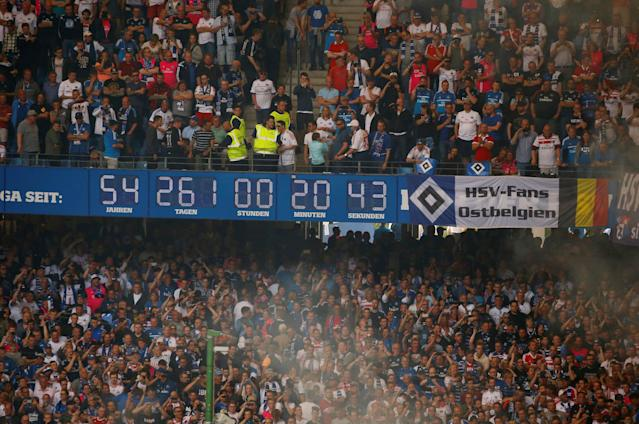 Soccer Football - Bundesliga - Hamburger SV v Borussia Moenchengladbach - Volksparkstadion, Hamburg, Germany - May 12, 2018 General view of the Hamburger SV clock as the game is interrupted by fan trouble REUTERS/Morris Mac Matzen DFL RULES TO LIMIT THE ONLINE USAGE DURING MATCH TIME TO 15 PICTURES PER GAME. IMAGE SEQUENCES TO SIMULATE VIDEO IS NOT ALLOWED AT ANY TIME. FOR FURTHER QUERIES PLEASE CONTACT DFL DIRECTLY AT + 49 69 650050