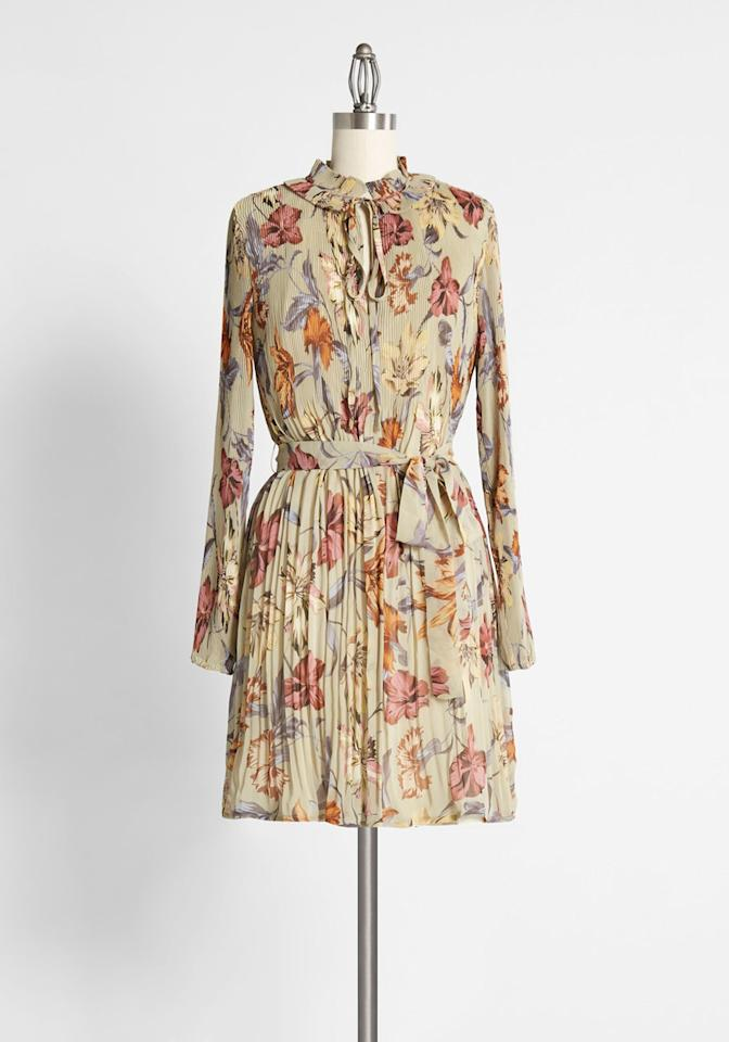 "<p>The <product href=""https://www.modcloth.com/shop/dresses/woodland-wanderlust-mini-dress-in-brown-floral/171101.html"" target=""_blank"" class=""ga-track"" data-ga-category=""internal click"" data-ga-label=""https://www.modcloth.com/shop/dresses/woodland-wanderlust-mini-dress-in-brown-floral/171101.html"" data-ga-action=""body text link"">Woodland Wanderlust Mini Dress</product> ($159) is perfect for an afternoon at the pumpkin patch.</p>"
