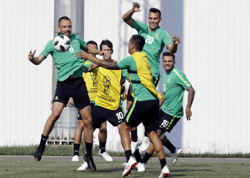 Australia's players practice during the official training on the eve of the group C match between Peru and Australia at the 2018 soccer World Cup, in Sochi, Russia, Monday, June 25, 2018. (AP Photo/Andre Penner)
